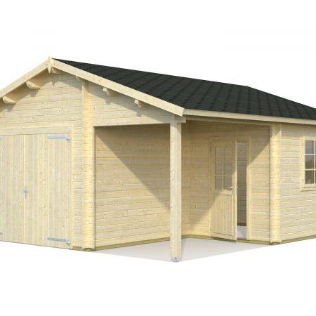 Garage bois avec auvent archives abris bois jardin for Garage avec auvent