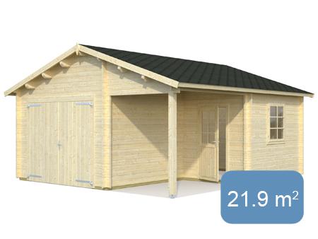 garage 21 9 5 2 m 44 mm avec portes bois abris bois jardin. Black Bedroom Furniture Sets. Home Design Ideas