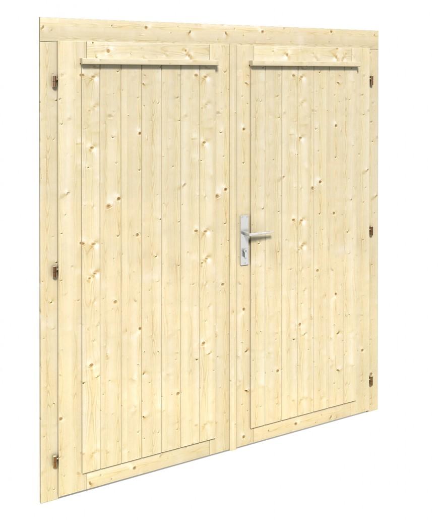 Porte double mtu28 53r 28 mm abris bois jardin for Porte bois abri jardin