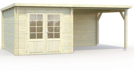 abri de jardin toit plat avec auvent de 8.20 m²