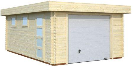 Garage Toit Plat 19 M² 44 Mm Porte Sectionnelle Abris Bois Jardin