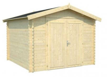 abri de jardin en bois pour rangement avec une porte double. Black Bedroom Furniture Sets. Home Design Ideas