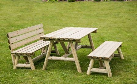 Table de jardin en demi rondins avec bancs et dossier